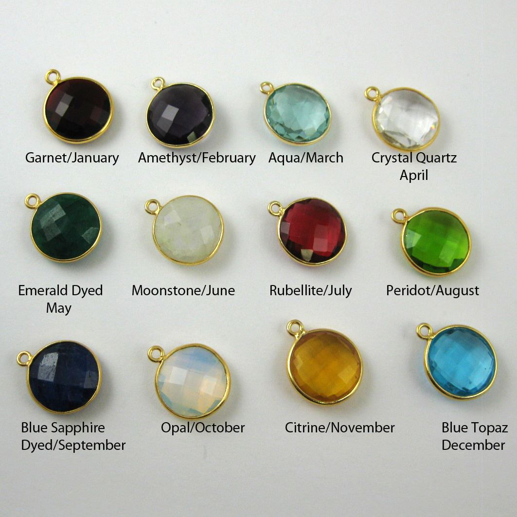 Birthstone Charm Pendant,Gold Plated Vermeil Sterling Silver Bezel Gemstone, Round Charm, Coin Charm (2 pcs)