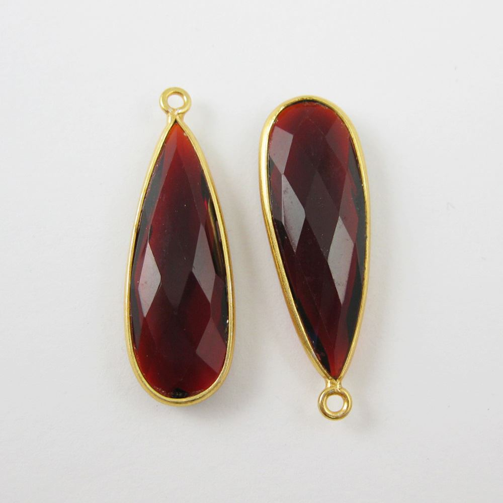 Birthstone Charm Pendant,Gold Plated Vermeil Sterling Silver Bezel Gemstone, Elongated Teardrop Charm (2 pcs)
