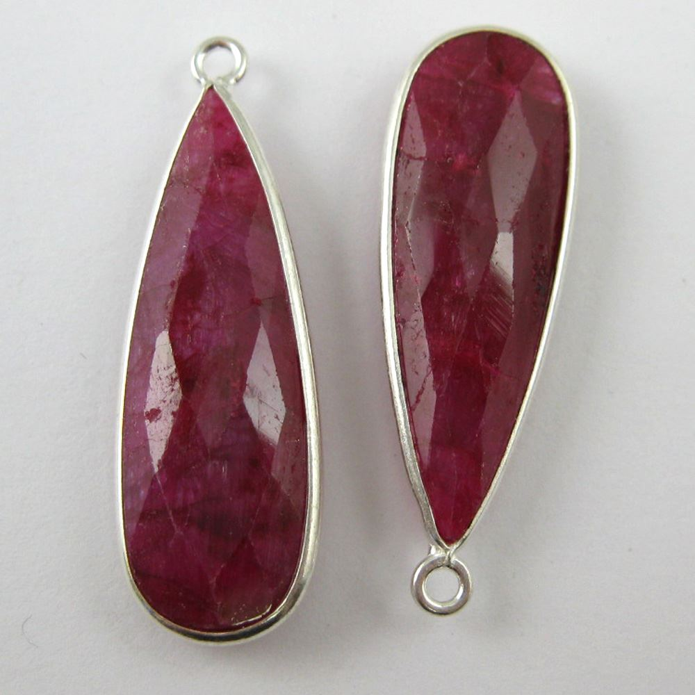 Birthstone Charm Pendant, Sterling Silver Bezel Gemstone, Elongated Teardrop Charm (2 pcs)