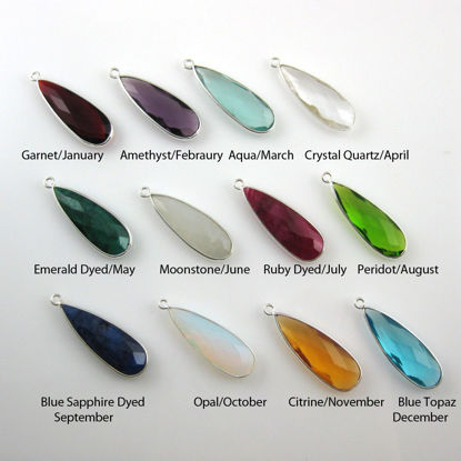Birthstone Charm Pendant, Sterling Silver Bezel Gemstone, Elongated Teardrop Charm (2 pcs)