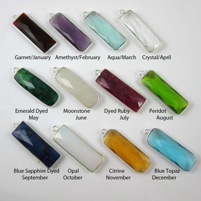 Birthstone Charm Pendant, Sterling Silver Bezel Gemstone, Elongated Rectangle Charm (2 pcs)