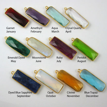 Birthstone Charm Pendant, Gold Plated Vermeil Sterling Silver Bezel Gemstone, Elongated Rectangle Charm (2 pcs)
