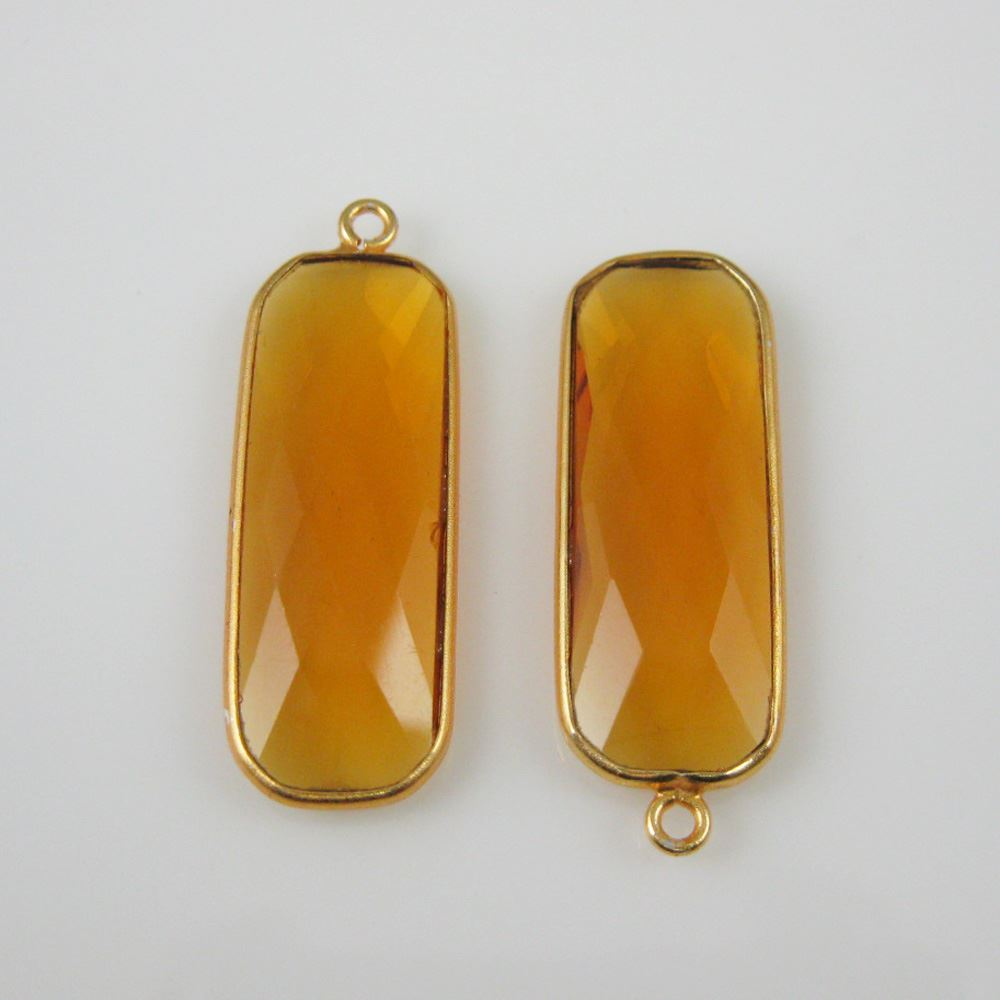 Birthstone Charm Pendant, Gold Plated Vermeil Sterling Silver Bezel Gemstone, Elongated Rectangle Charm (2 pcs)