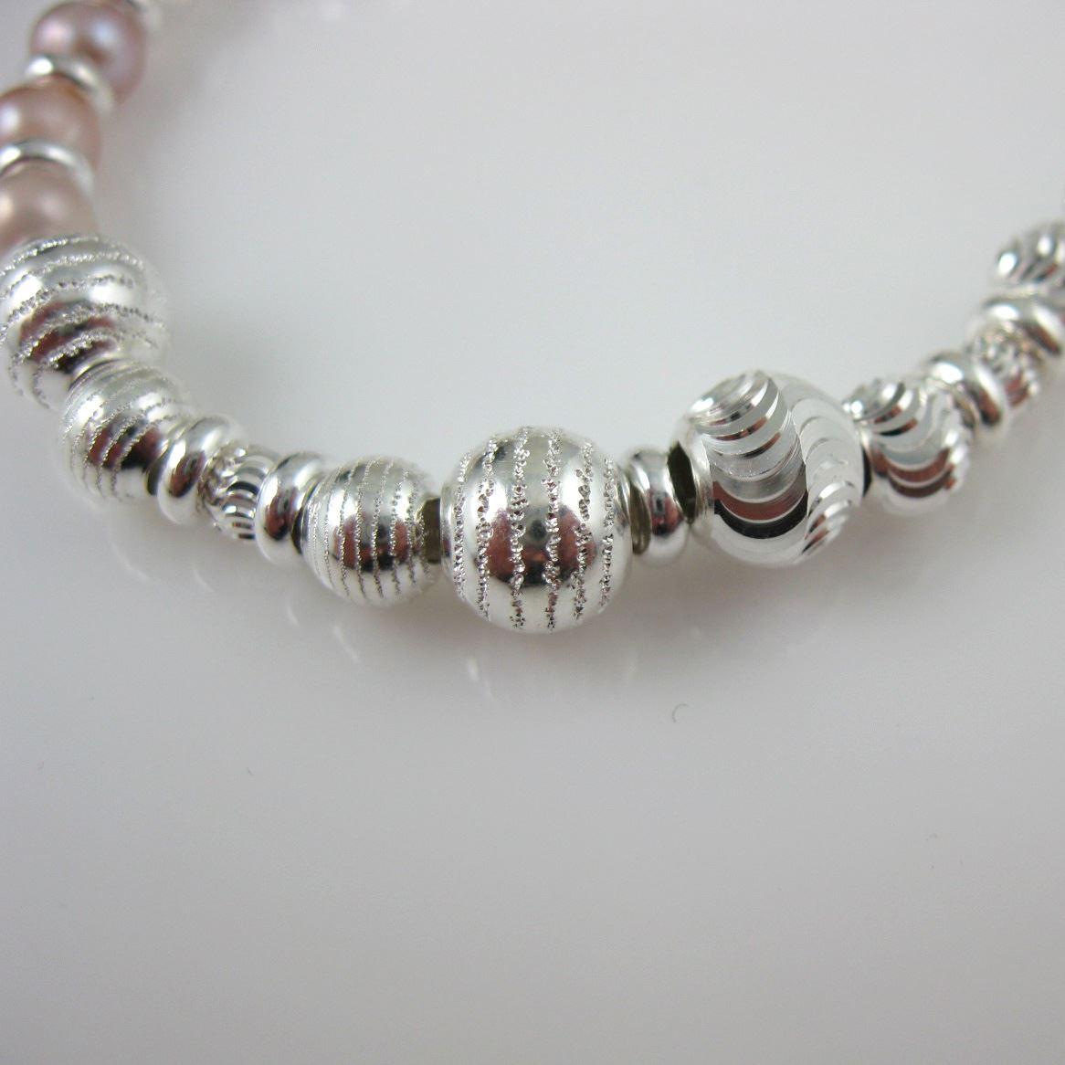 June Birthstone Bracelet-Sterling Silver Glamour Beaded Bracelet-Beaded Bracelet-Pearl and Silver-Fancy Bracelet-Glamourous Jewelry