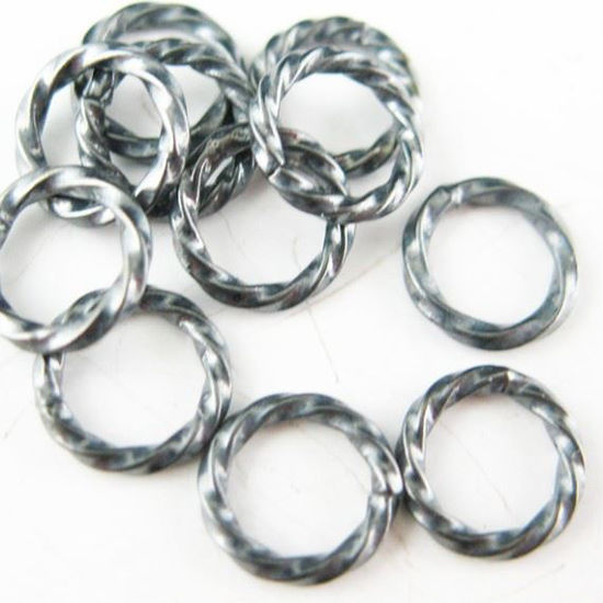 Oxidized Sterling Silver Closed Jump Rings - Twisted Circle shape 19 ga 1mm thickness - 8.5mm ( 10 pcs )