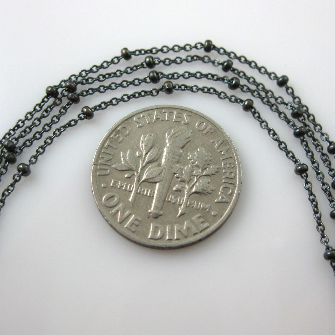 Oxidized Sterling Silver Chain-Beaded Cable Chain-Satellite Chain-1.4X1.6 Cable Oval+Ball Chain - Unfinished Bulk Chain (by the foot)