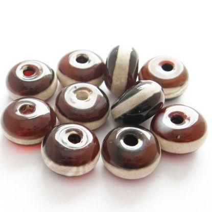 Carnelian dZi bead - Rondelle Shape with  Line Totem 10mm ( 10 pcs)