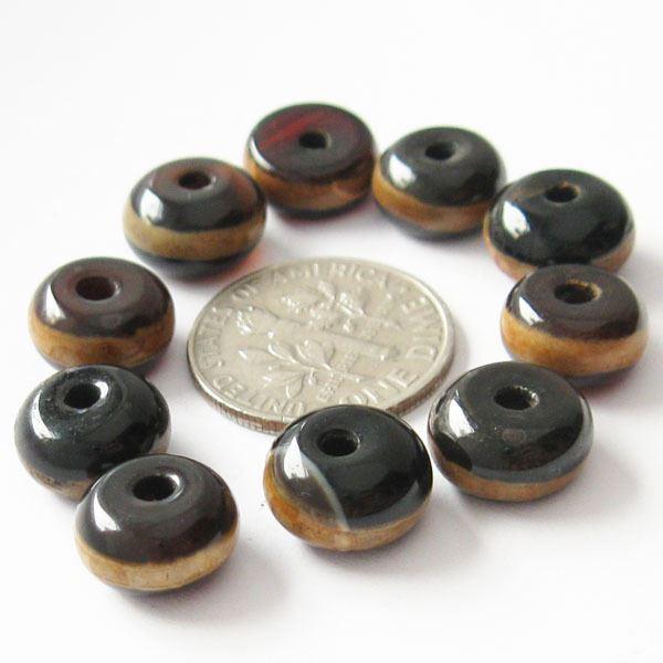 Carnelian dZi bead - Rondelle Shape with Yellow Line Totem 10mm ( 10 pcs)