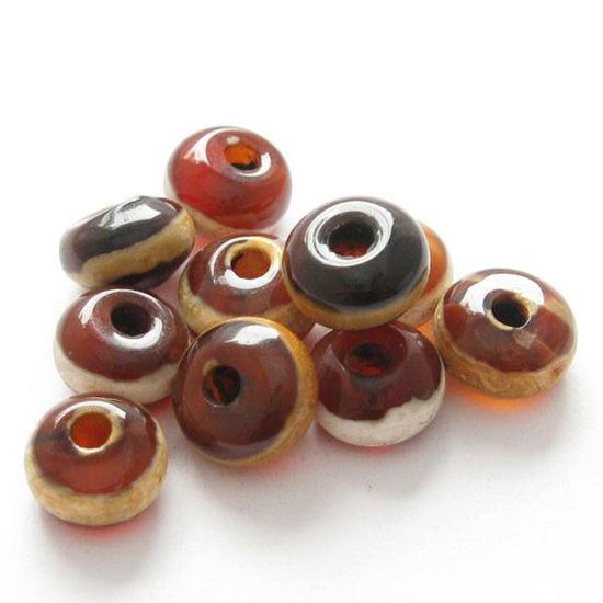 Carnelian dZi bead - Rondelle Shape with  Line Totem ( 10 pcs)