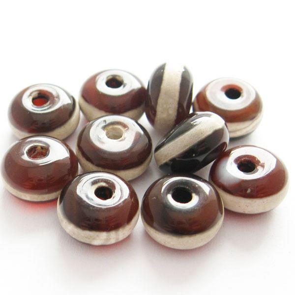 Carnelian dZi bead - Rondelle Shape with  Line Totem 8mm ( 10 pcs)