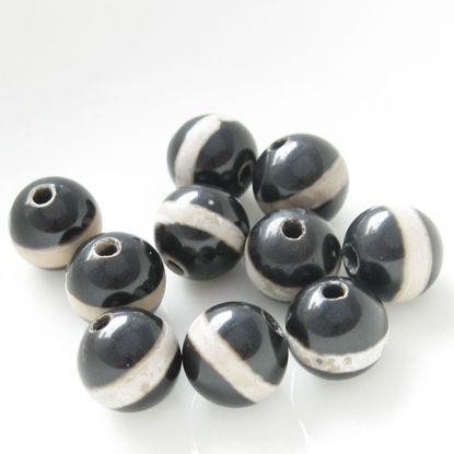 Carnelian dZi bead - Round Shape with Line Totem Black 8mm ( 10 pcs)