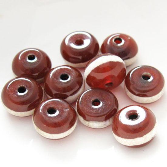 Carnelian dZi bead - Rondelle Shape with Line Totem 12mm ( 10 pcs)