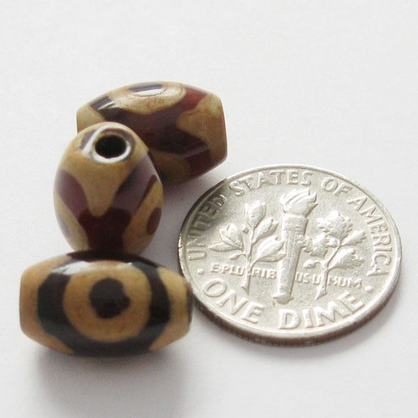 Carnelian dZi bead - Olive Shape with 3-Eyes Totem 15mm (3pcs)