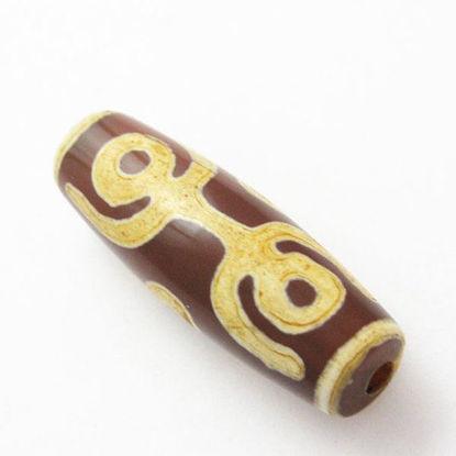 Carnelian dZi bead - Olive Shape with 6-Eyes Totem (1pc)