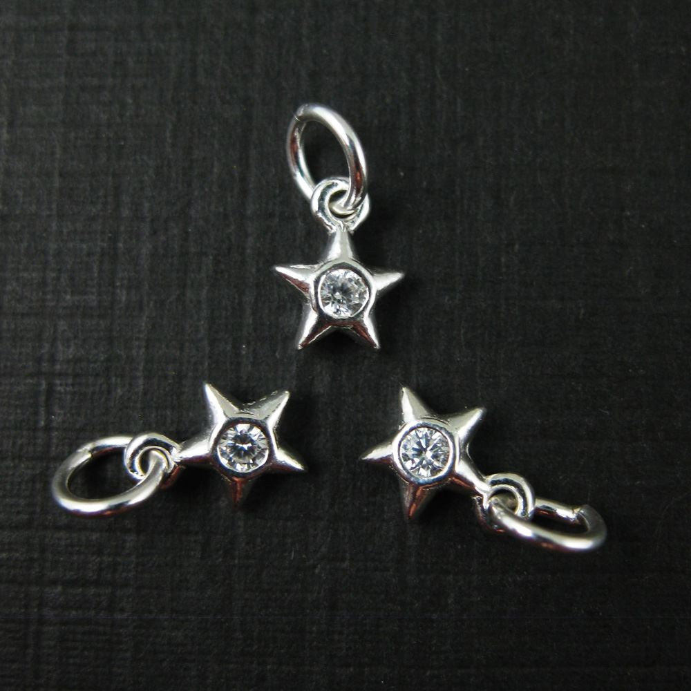Sterling Silver Star Charm - Star Charm with CZ Stone -Cubic Zirconia -Tiny Charm - Jewelry Making Charm - Findings( 5.5mm-3 pcs)