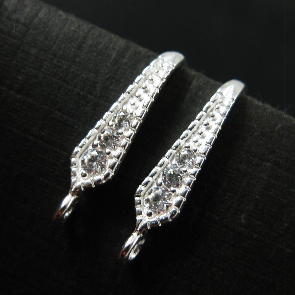 Sterling Silver Earring Findings- Bridal Earwire- CZ Stone Earwire- Elongated Diamond Shape- Earrings ( 2 pieces - 1 pair )