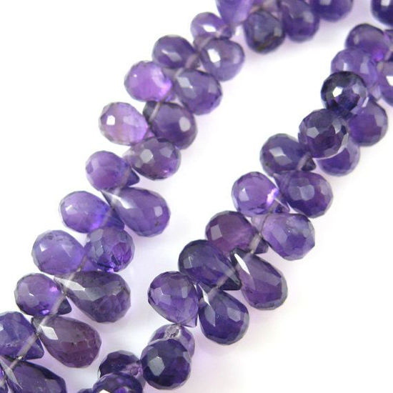 Semi Precious Gemstone Beads - 100% Genuine Amethyst Gemstone Faceted Drops - Grade A/B Briolette Nature Stone - 8 mm