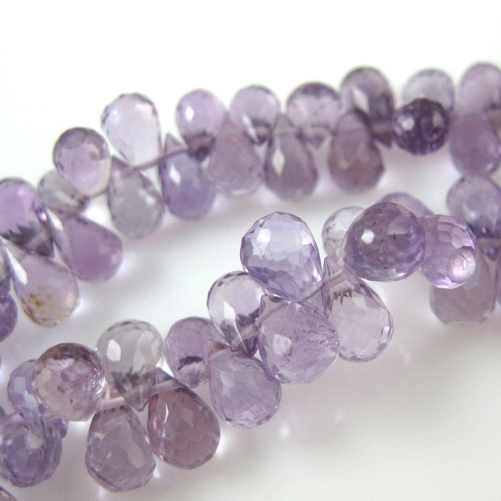 Semi Precious Gemstone Beads - 100% Genuine Pink Amethyst Gemstone Faceted Drops - Grade AA Briolette Nature Stone - 8 mm - 10 pcs
