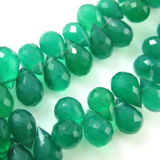 Semi Precious Gemstone Beads - 100% Genuine Green Onyx Gemstone Faceted Drops - Grade A Briolette Nature Stone - 10 mm - 8 pcs
