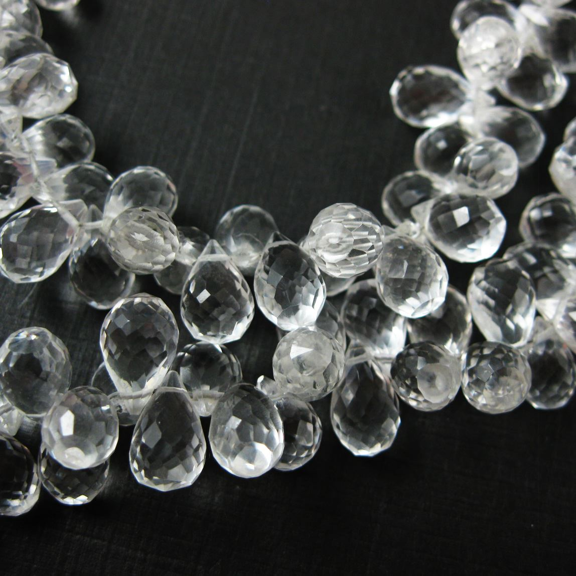 Semi Precious Gemstone Beads - 100% Genuine Crystal Gemstone Faceted Drops - Grade AA Briolette Nature Stone - 12 mm- 5 pcs