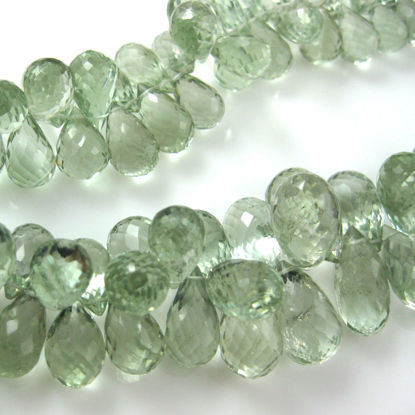 Semi Precious Gemstone Beads - 100% Genuine Green Amethyst Gemstone Faceted Drops - Grade AA Briolette Nature Stone