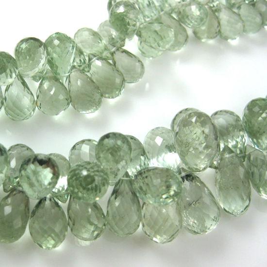 Semi Precious Gemstone Beads - 100% Genuine Green Amethyst Gemstone Faceted Drops - Grade AA Briolette Nature Stone