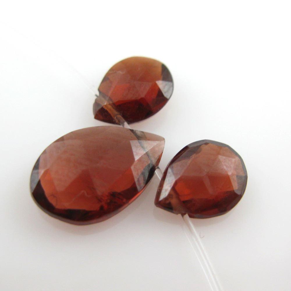 Semiprecious Gemstone Beads -100% Genuine Garnet Gemstone Bead Faceted Pear Shape - 7mm ( 10 pcs )