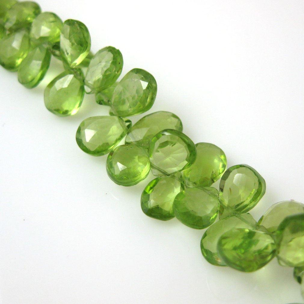 Semiprecious Gemstone Beads -100% Genuine Peridot Gemstone Bead Faceted Pear Shape - Grade B - 8mm ( 10 pcs )