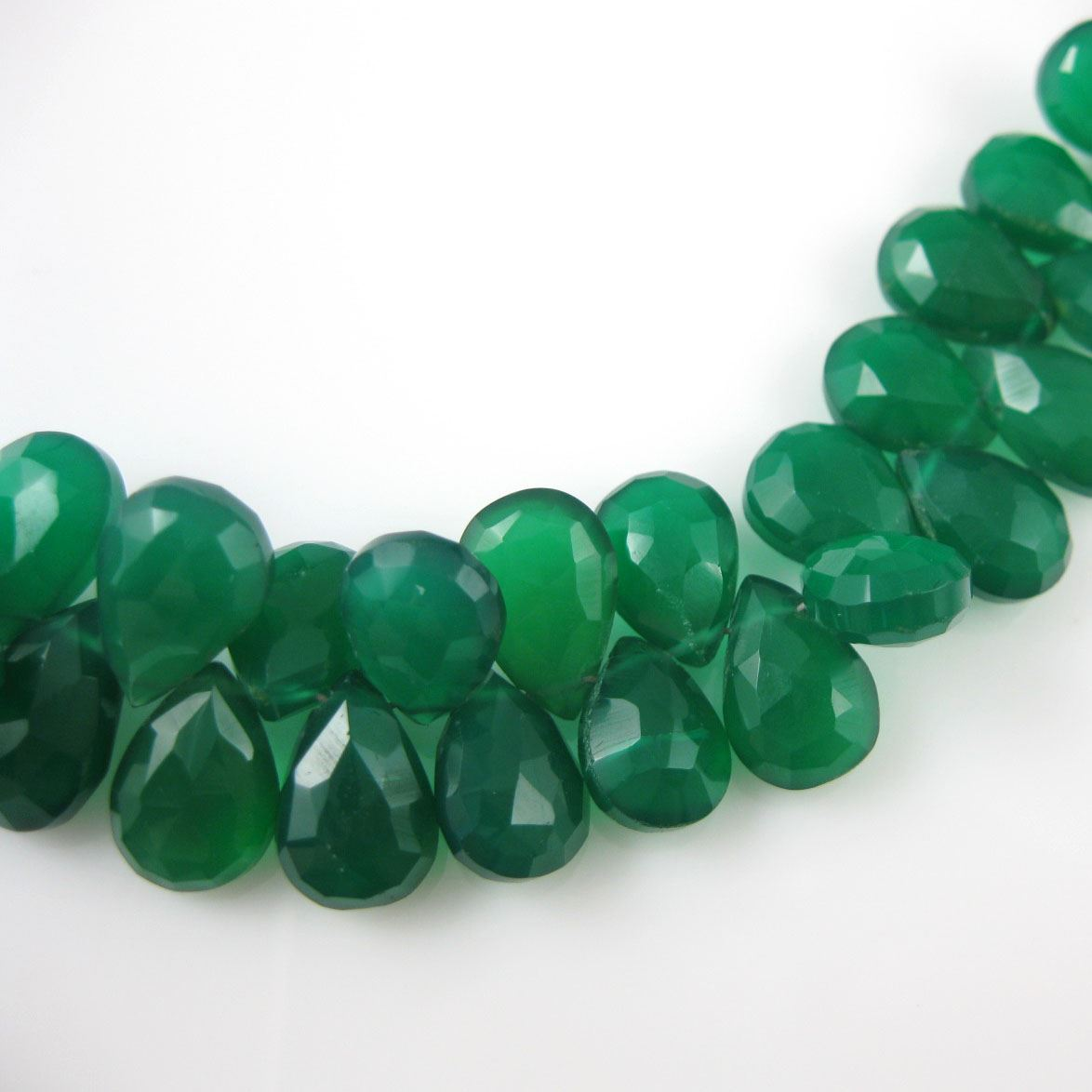 Semiprecious Gemstone Beads -100% Genuine Green Onyx Gemstone Bead Faceted Pear Shape - Grade B - 10mm -5 pieces
