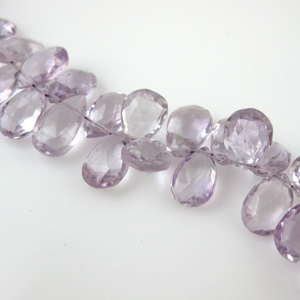 Semiprecious Gemstone Beads -100% Genuine Pink Amethyst Gemstone Bead Faceted Pear Shape - Grade A/B - 10mm