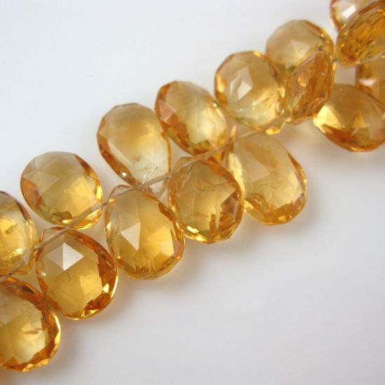 Semiprecious Gemstone Beads -100% Genuine Citrine Gemstone Bead Faceted Pear Shape - Grade B - All Sizes - 3 pcs