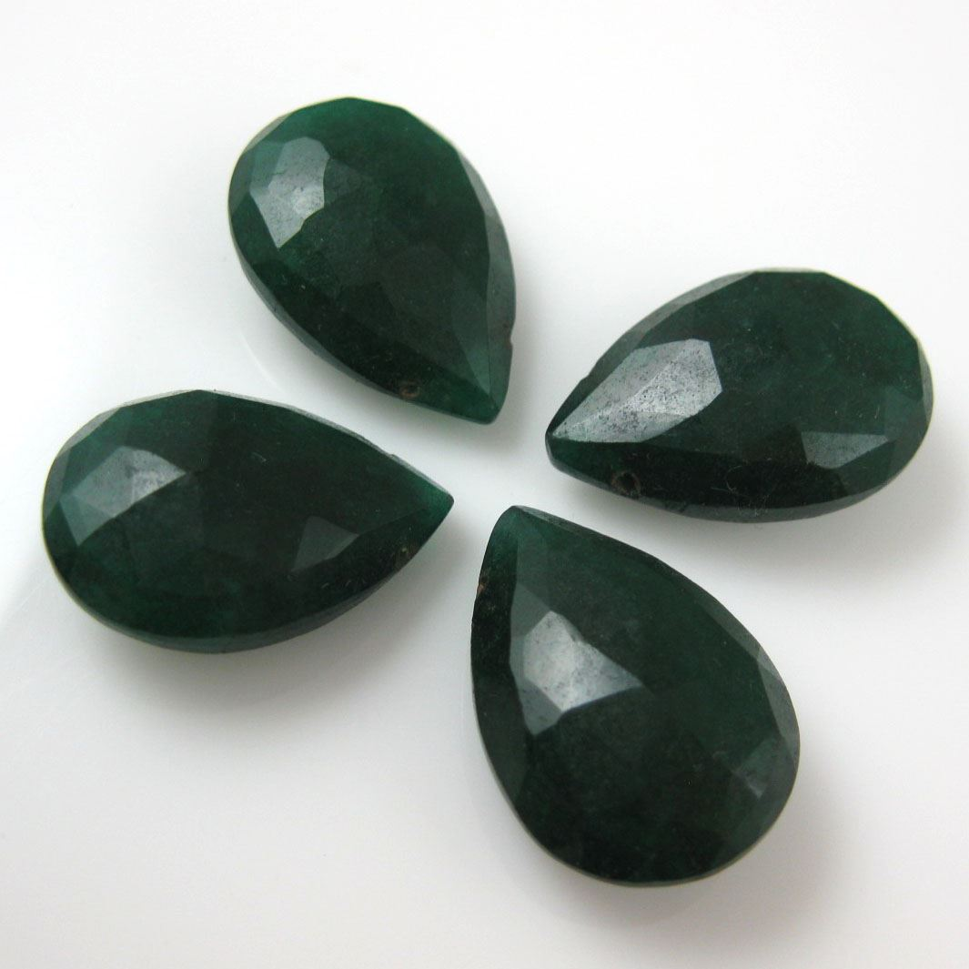Semiprecious Gemstone Beads -Dyed Emerald Gemstone Bead Faceted Pear Shape - Ropada - Grade AA - 1 piece