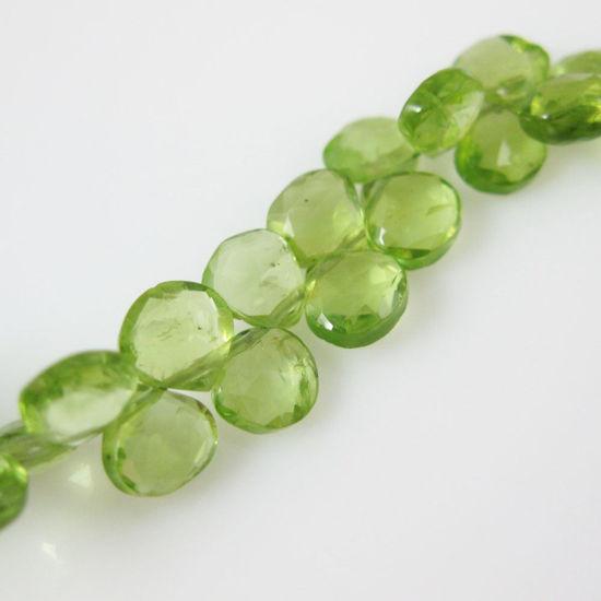 Semiprecious Gemstone Beads -100% Genuine Peridot Gemstone Bead Faceted Heart Shape - Grade B - 6mm - 10 pieces