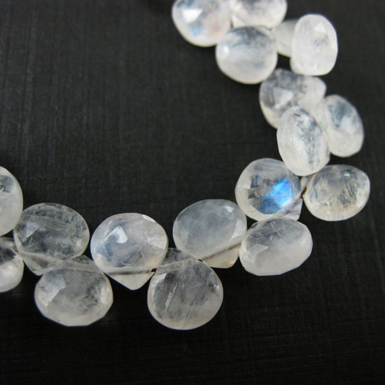 Semiprecious Gemstone Beads -100% Genuine Rainbow Moonstone Gemstone Bead Faceted Heart Shape Briolette- Grade B - 10 pieces
