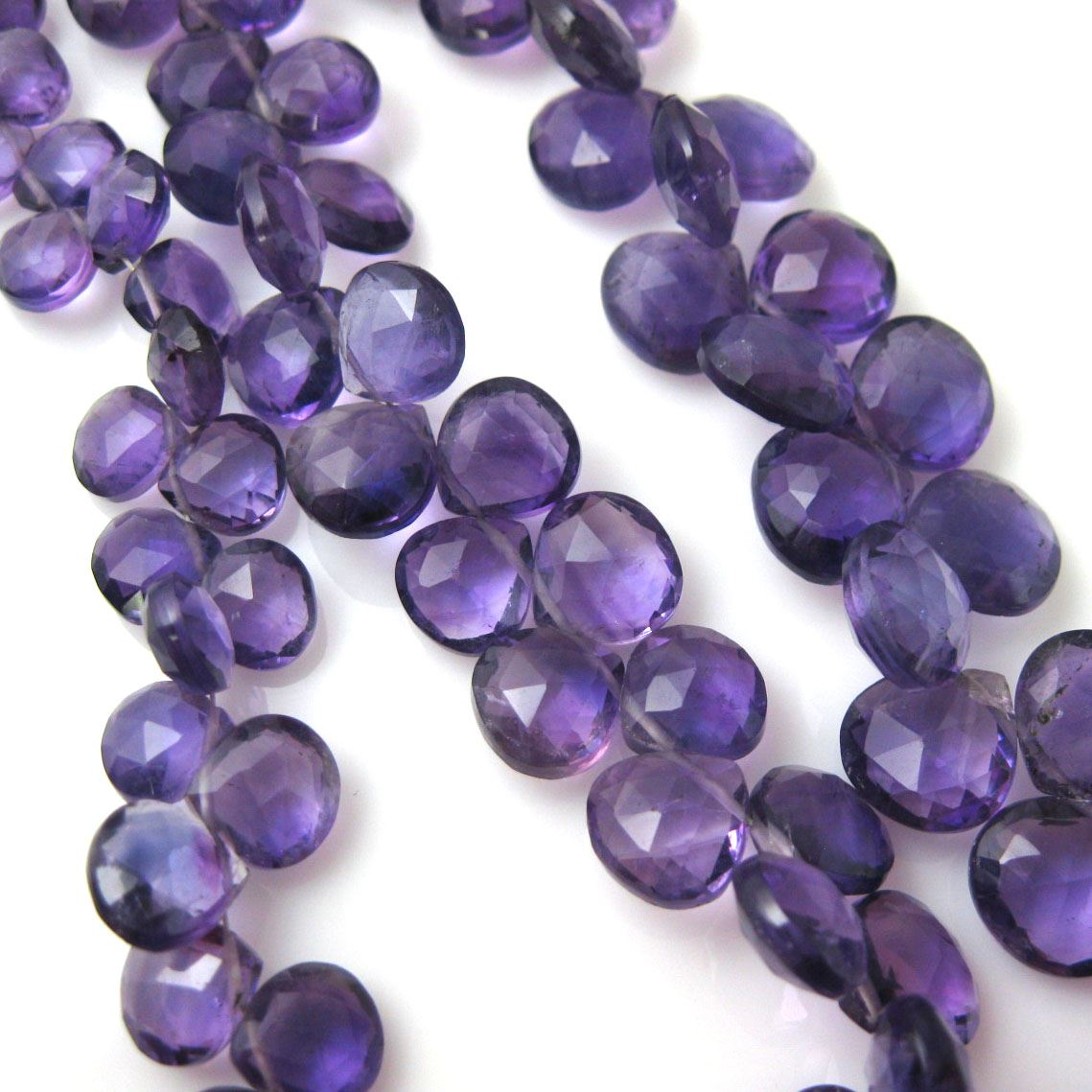 Semiprecious Gemstone Beads -100% Genuine Amethyst Gemstone Bead Faceted Heart Shape Briolette- Grade A/B - 9-11mm