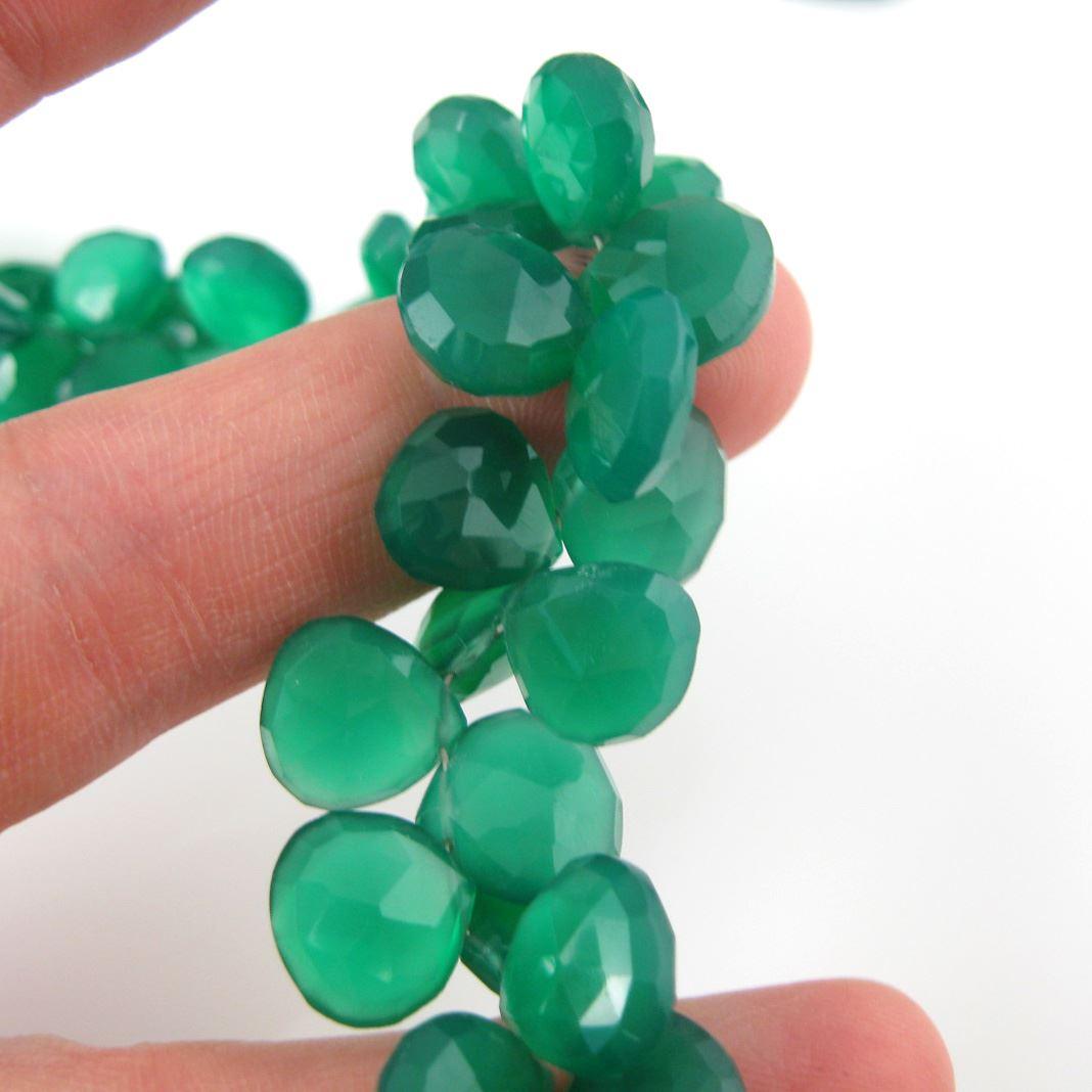 Semiprecious Gemstone Beads -100% Genuine Green Onyx Gemstone Bead Faceted Heart Shape Briolette- Grade A/B - 10-13mm