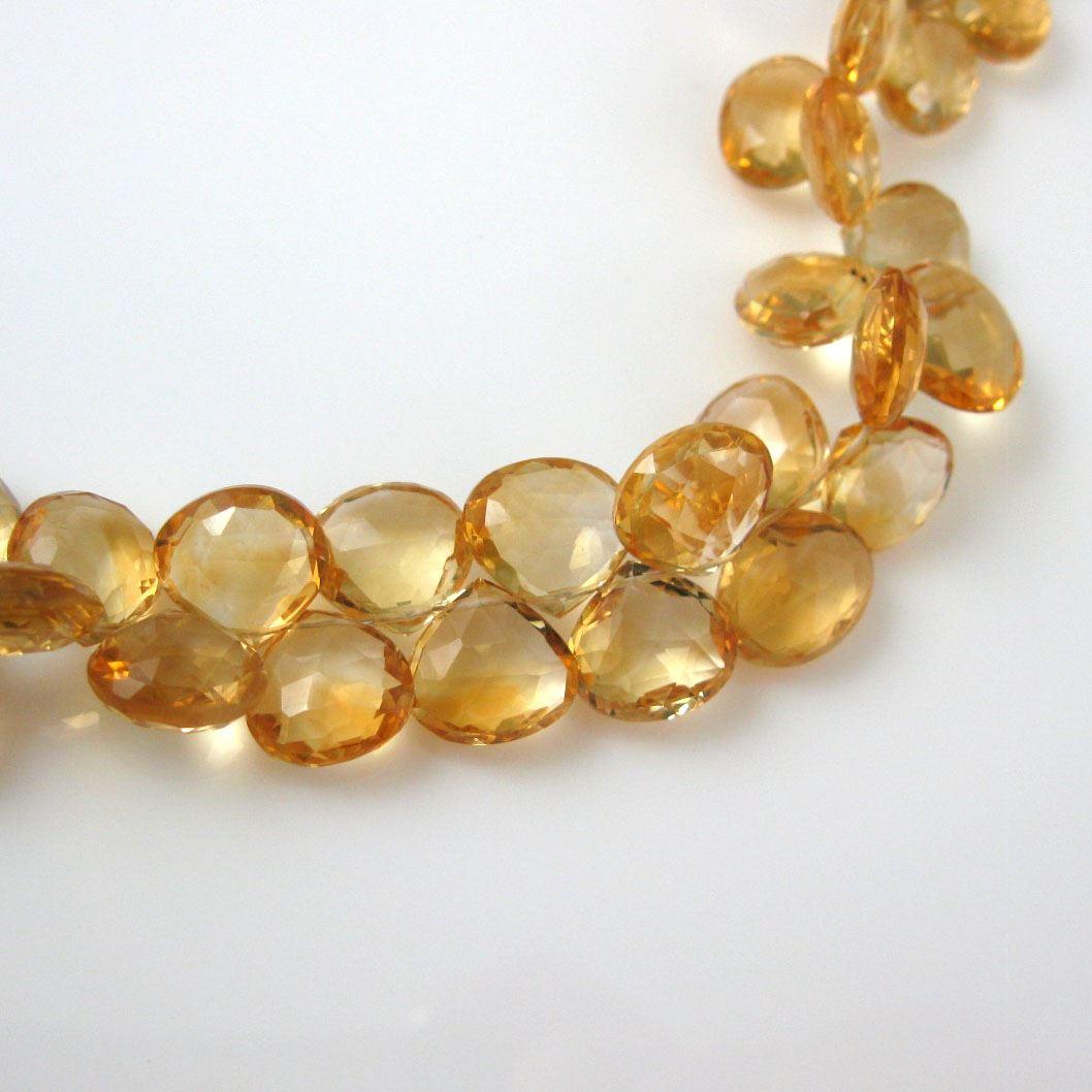Semiprecious Gemstone Beads -100% Genuine Citrine Gemstone Bead Faceted Heart Shape Briolette- Grade A/B - 11mm - 3 pcs