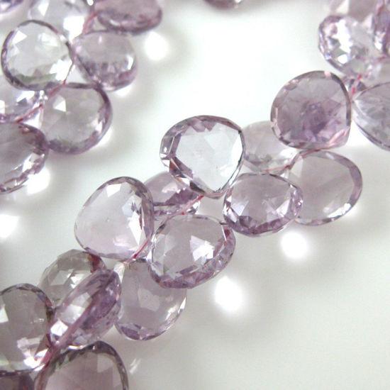 Semiprecious Gemstone Beads -100% Genuine Pink Amethyst Gemstone Bead Faceted Heart Shape Briolette- Grade A/B - 11-15mm