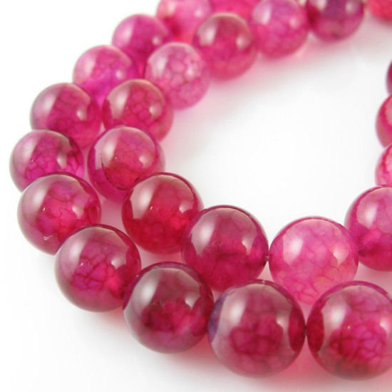 Nature Agate Beads- Fuchsia Agate - Smooth Round 10mm - Sold per strand