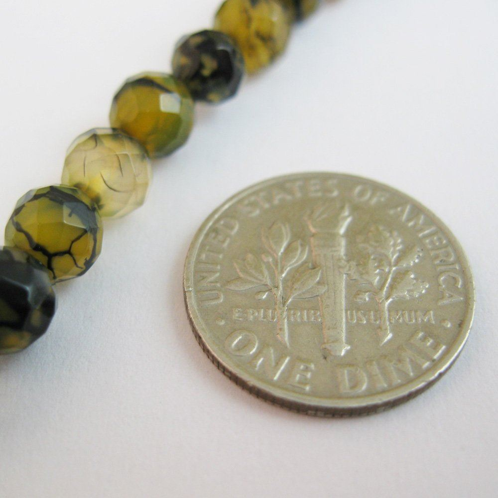 Nature Agate Beads- Olive Green Crackle Agate Beads - Dragon Vein - Faceted Round 6mm - Sold per strand