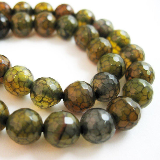 Nature Agate Beads- Olive Green Crackle Fire Agate Beads - Faceted Round 8mm - Sold per strand