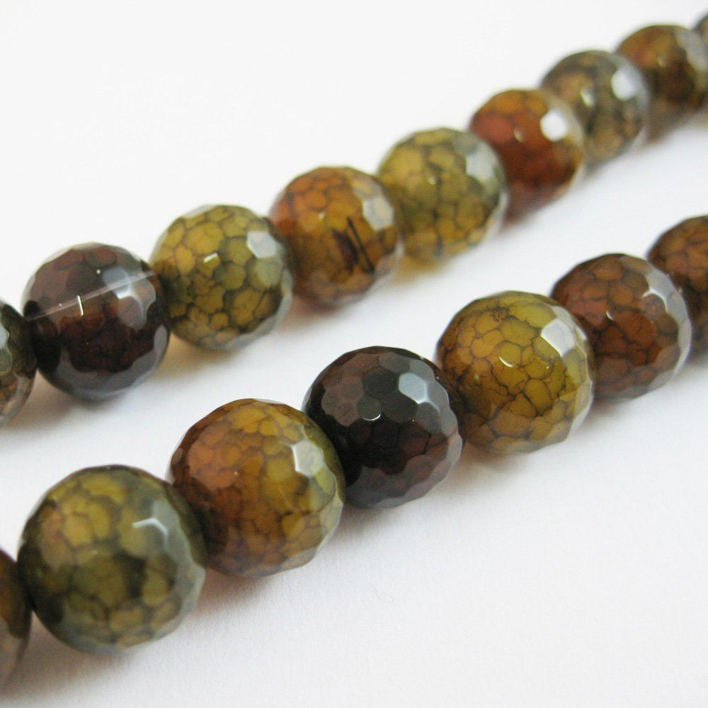 Nature Agate Beads- Olive Green Crackle Fire  Agate Beads - Faceted Round 10mm - Sold per strand