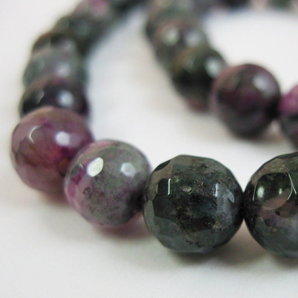 Nature Agate Beads - Purple and Green Agate Beads - Faceted Round 8mm - Sold per strand