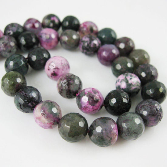 Nature Agate Beads - Purple and Green Agate Beads - Faceted Round 10mm - Sold per strand