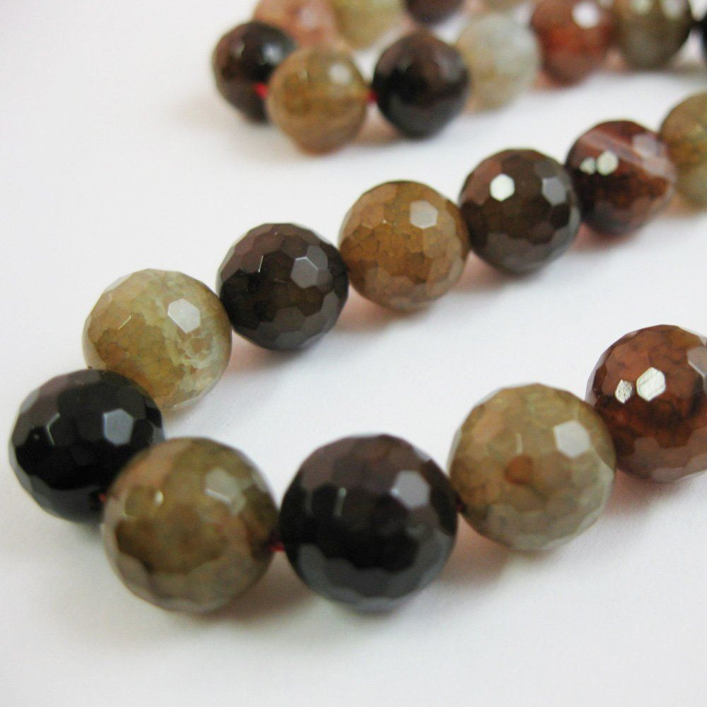 Nature Agate Beads - Multi Colored Agate Beads - Faceted Round 10mm - Sold per strand