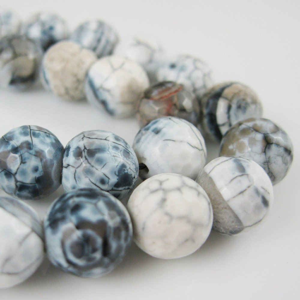Nature Agate Beads - Black and White Crackle Agate Beads - Faceted Round 10mm - Sold per strand