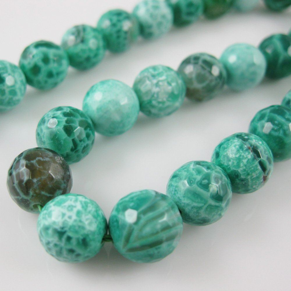 Nature Agate Beads - Green Crackle Agate Beads - Faceted Round 10mm - Sold per strand