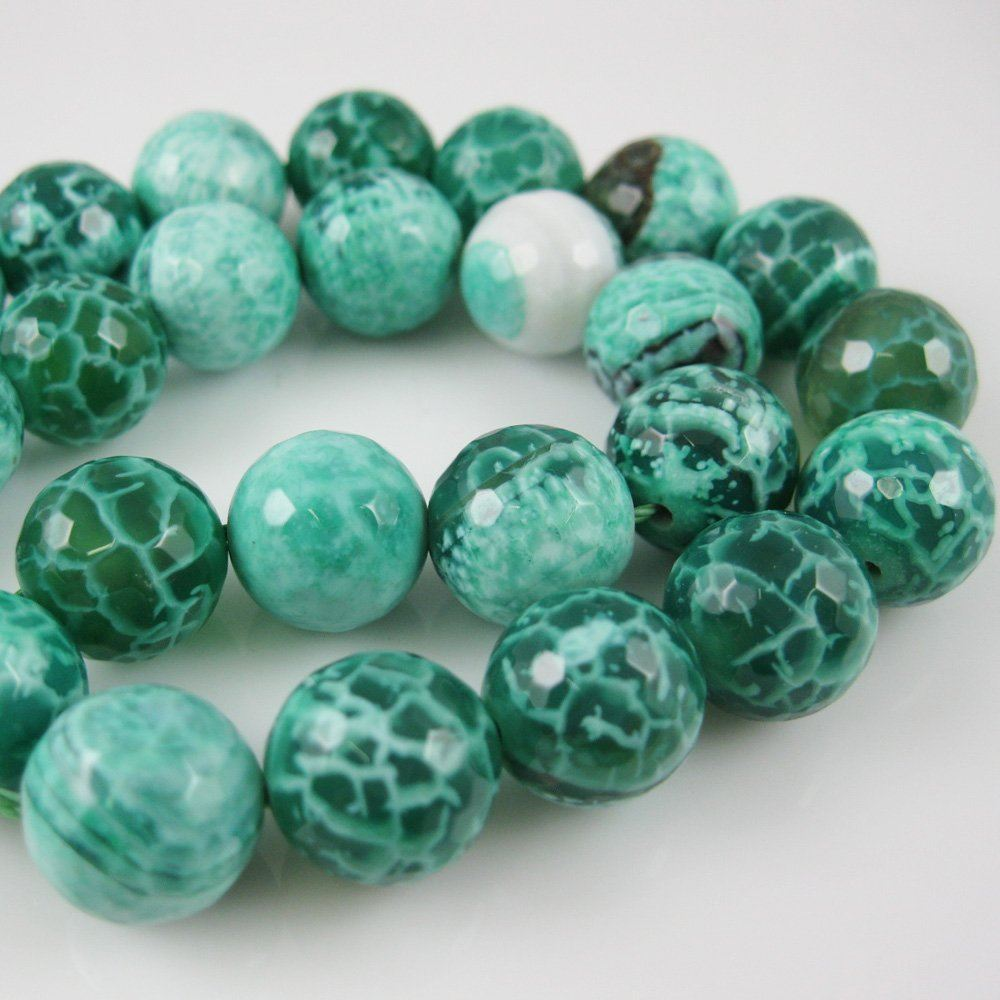 Nature Agate Beads - Green Crackle Agate Beads - Faceted Round 12mm - Sold per strand