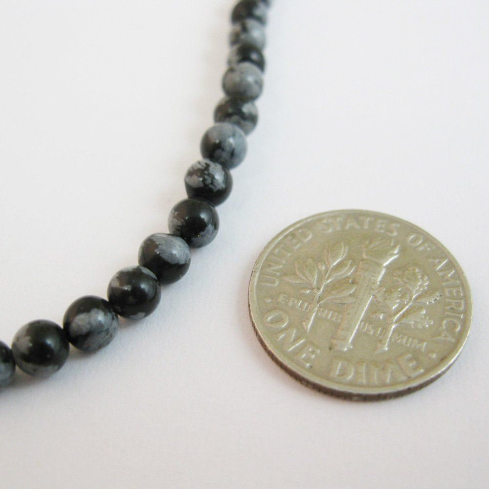 Nature Agate Beads - Snowflake Agate Beads - Smooth Round 4mm - Sold per strand