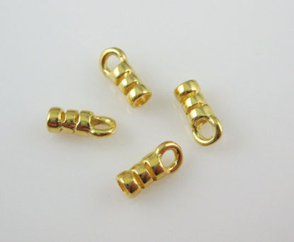22K Gold plated Sterling Silver Fancy Tube Ends, 8mm (sold per 4 pcs)